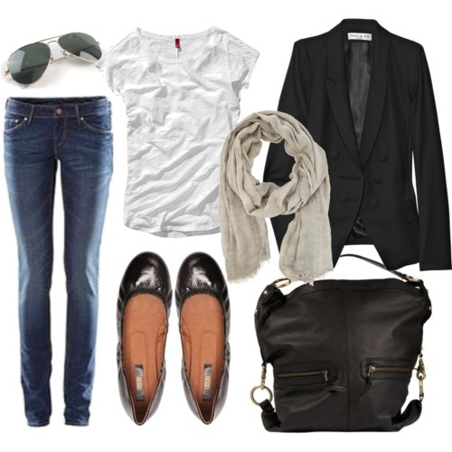blazer, t-shirt and jeans