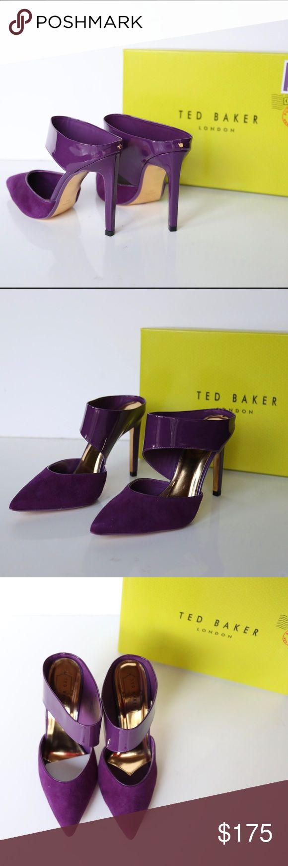 Ted Baker purple pointy toe suede leather heels New in original box Ted Baker heels pointy toe suede and patent leather. Stiletto heel. Sole protective film is still on.  🅿️posh rules only🅿️ 🚫no trades🚫 ✅love to negotiate✅ Ted Baker Shoes Heels