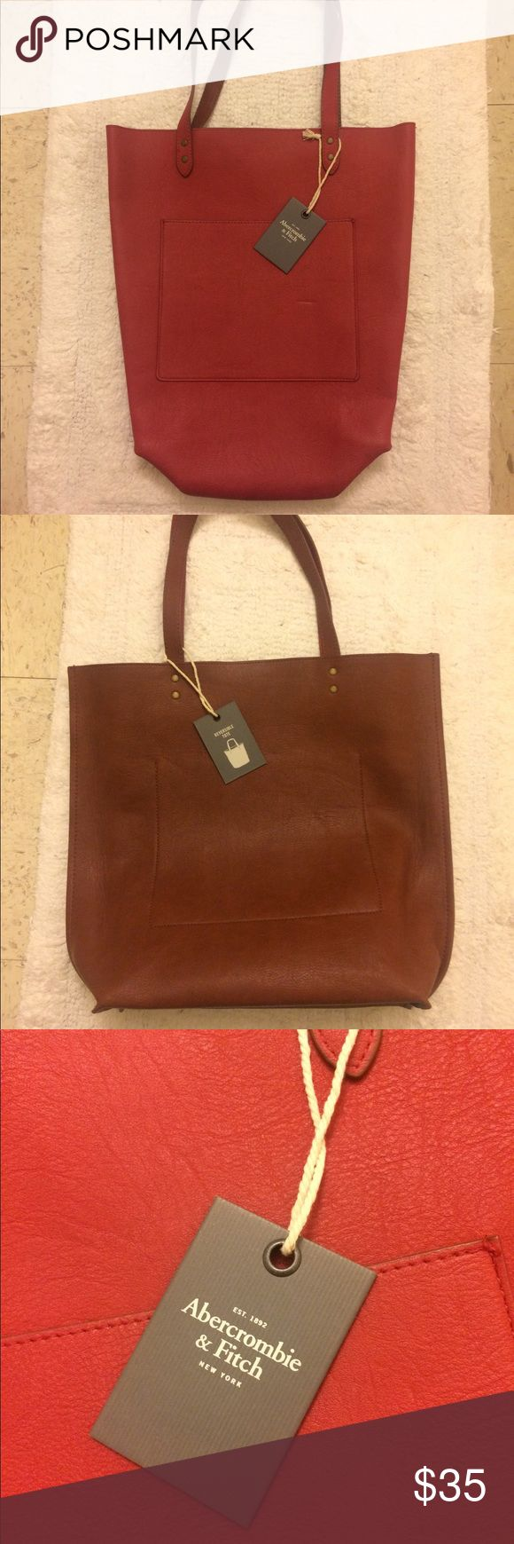 A & F tote bag Reversible red and brown Abercrombie and Fitch tote bag great for a Christmas gift!! Abercrombie & Fitch Bags Totes