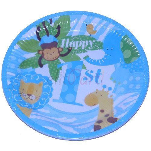 Karton Tabak Erkek Çocuk 1 Yaş Doğum Günü 8'li - 5.99 ₺