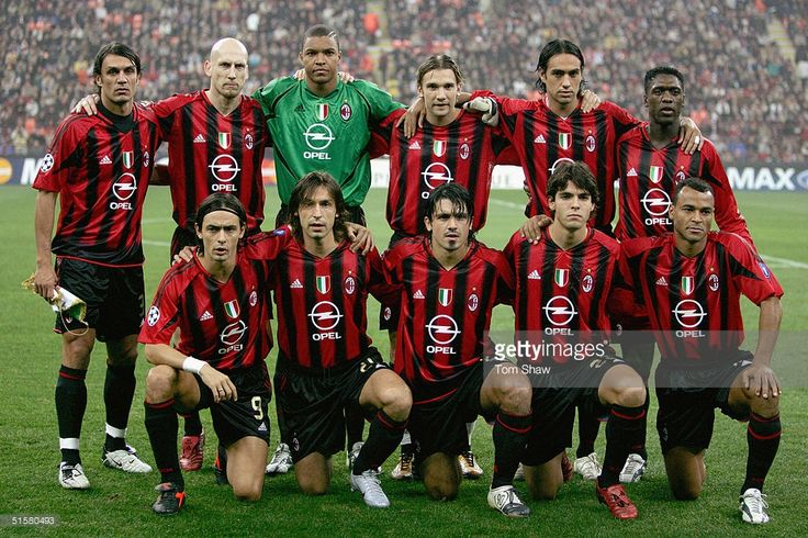Milan team line up prior to the UEFA Champions League Group F match between AC Milan and Barcelona in the Stadio San Siro on October 20 2004 in Milan, Italy.