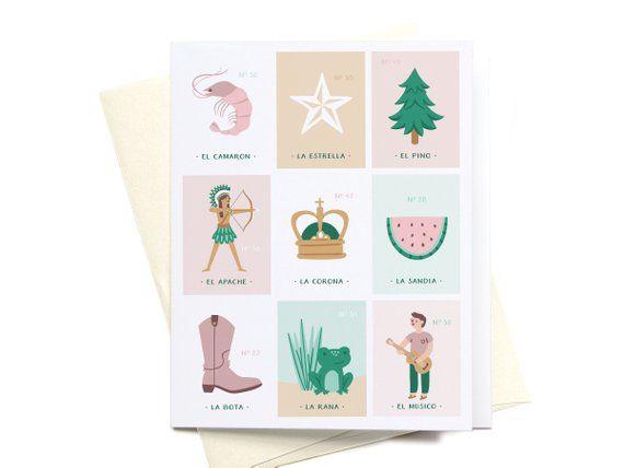 Cute Greeting Card Envelope Shrimp Star Pine Tree Apache Crown
