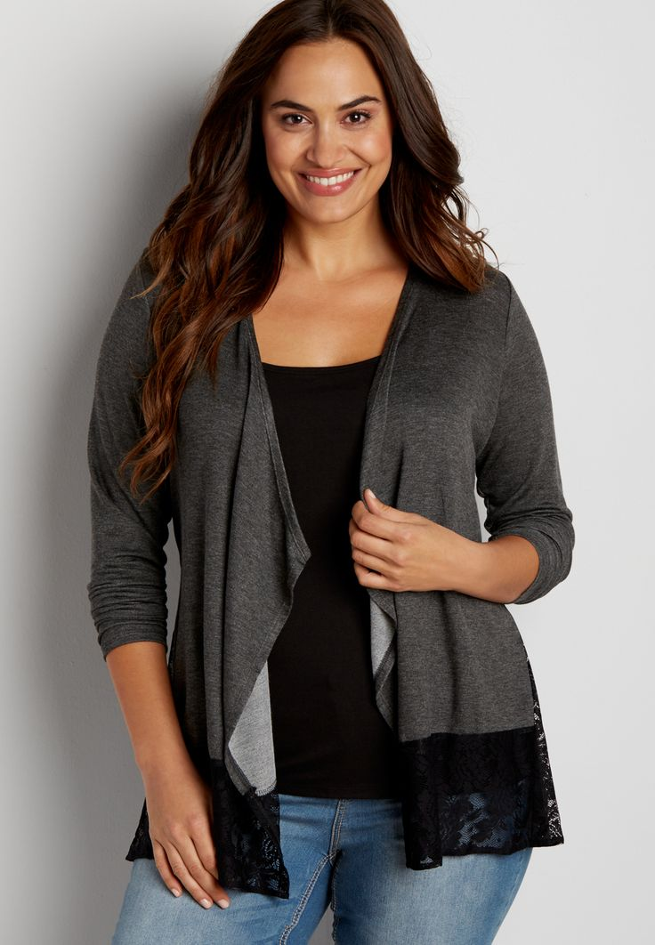plus size cardigan with lace hem (original price, $36.00) available at #Maurices
