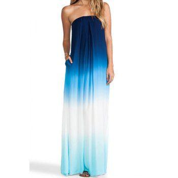 Stylish Strapless Sleeveless Gradient Color Women's Maxi Dress (BLUE,XL) in Maxi Dresses | DressLily.com