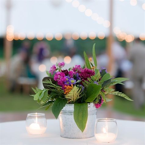 The Tables Had Flowers In Galvanized Silver French Pails And The High Top Tables Had The Small Galvanized Buckets Of Flowers That Were Wedding Table Decorations Simple Centerpieces Wedding Table