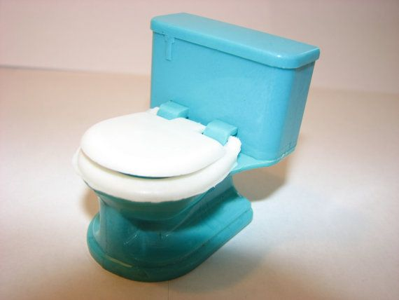 Vintage Dollhouse Furniture 1940 39 S Turquoise Plastic Miniature Toilet Plastic Dollhouse