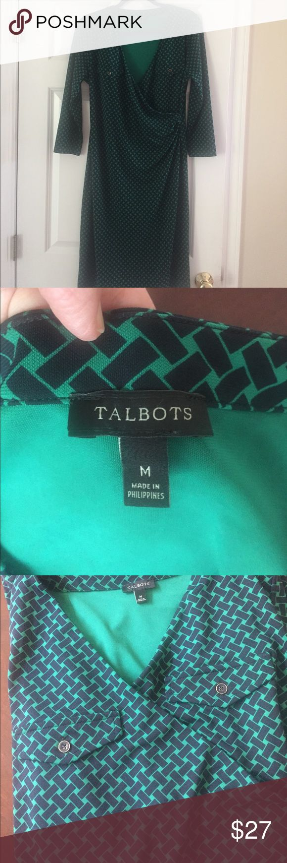 Talbots blue and green faux wrap dress comfy Talbots blue and green faux wrap dress comfy, this is the perfect dress for traveling, easy care, wrinkle prof, dress up or down, very slimming, has belt loops, pretty pattern Talbots Dresses