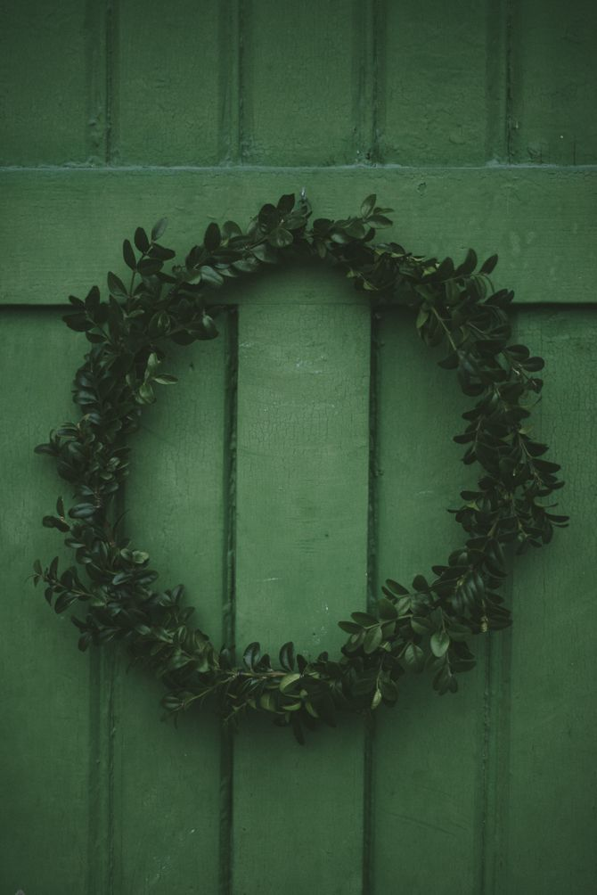 Babes in Boyland- Make a wreath using Japanese Boxwood from the front yard hedge OR another leafy plant.