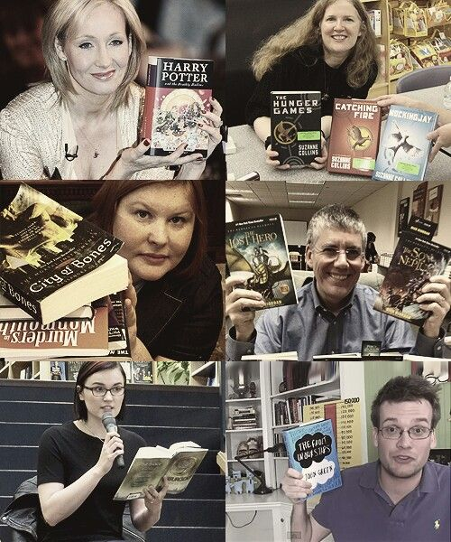 J K Rowling, Suzanne Collins, Cassandra Clare, Rick Riordan, Veronica Roth, John Green - Harry Potter, Hunger Games, Mortal Instruments, Percy Jackson, Divergent, Tge Fault In Our Stars