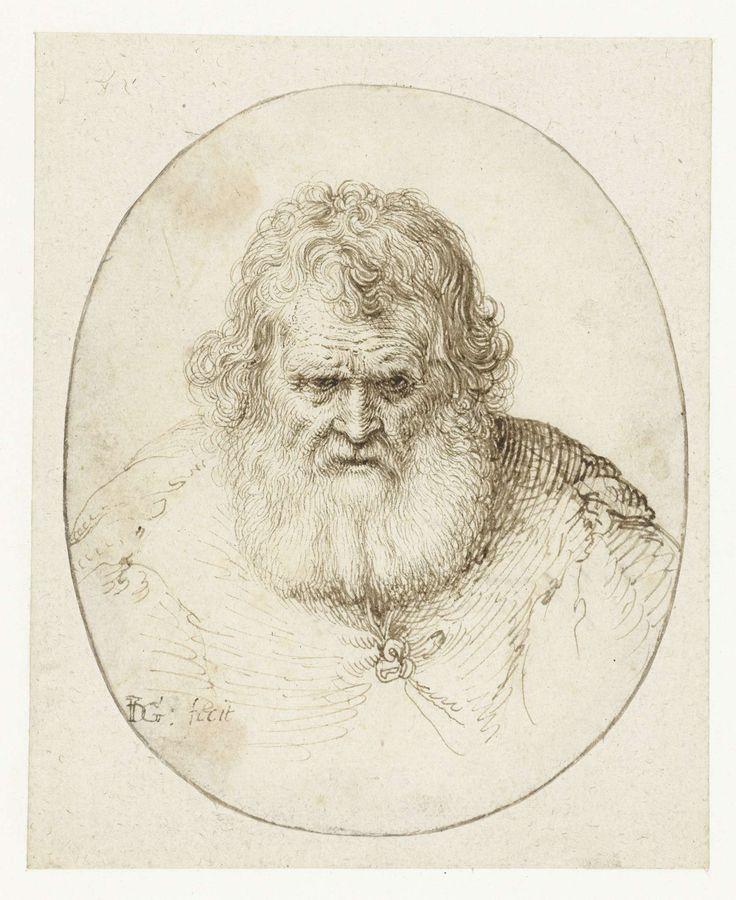 Portret van een oude man, Jacob de Gheyn (II), 1600 - 1605