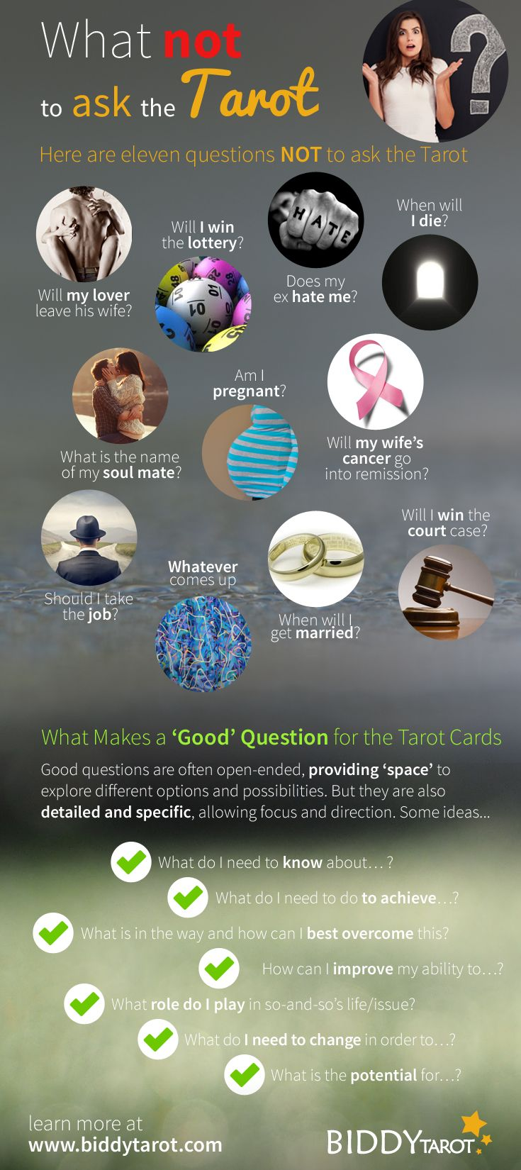 The #Tarot can answer everything, right? You just think of your problem, lay out the cards, and shazzam, you have your answer, yeah?  Wrong!  While the Tarot cards are certainly there to guide you and to provide insight into your troubles and concerns, there are just some questions NOT to ask the Tarot. #tarottips