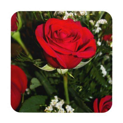 Red Roses Bouquet Photo Beverage Coaster - home gifts ideas decor special unique custom individual customized individualized