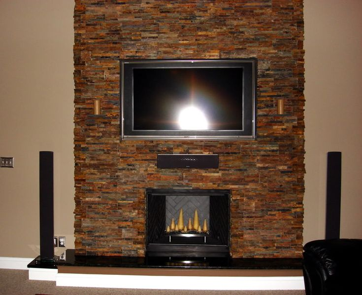 stacked slate fireplaces | ... hearth and a stacked slate stone wall covering completed fireplace