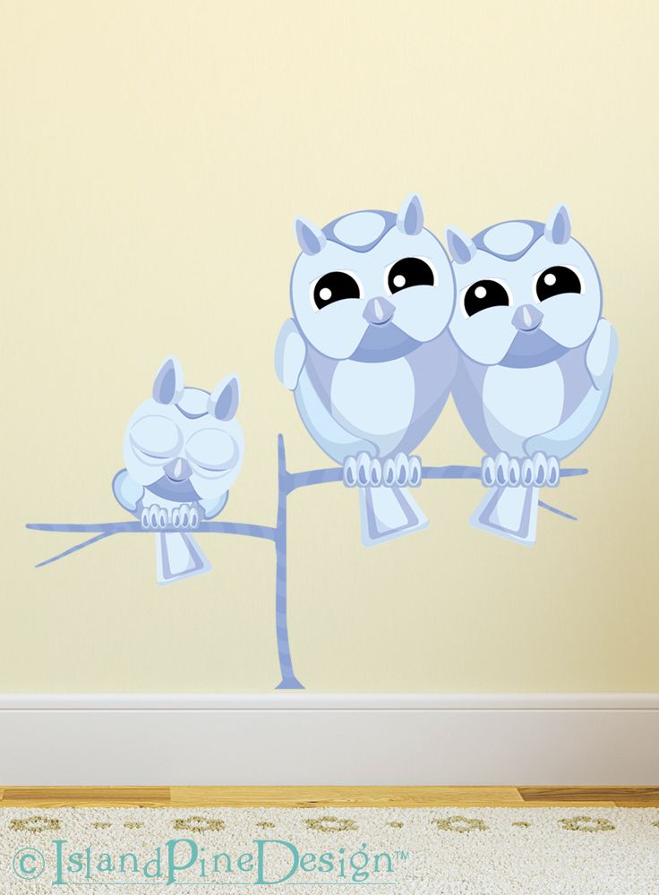 Owl Family | Non-toxic Posable Wall Art Decal Sticker Kit by Mixable Murals.  www.mixablemurals.com