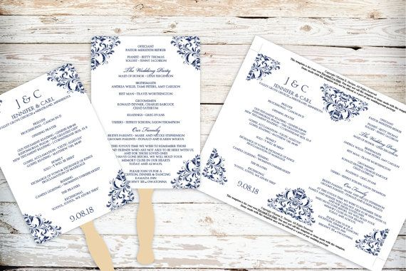 Wedding Fan Program Template  Download by DiyWeddingTemplates, $8.00
