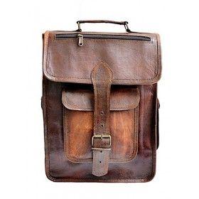 "PLH05 VINTAGE BROS™ Leather backpack / briefcase 2in1. Handmade 15,5"""