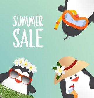Diseño de verano con pingüinos lindos