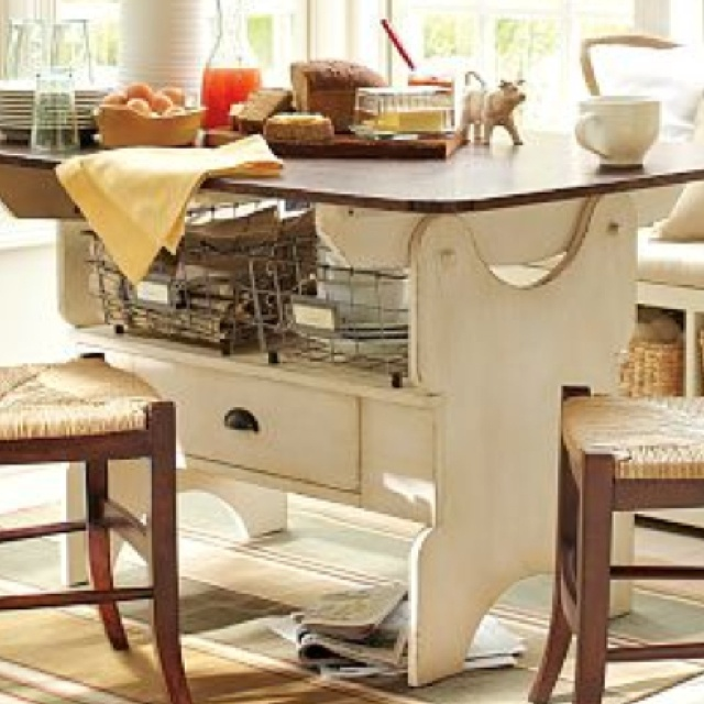 Distressed white farmhouse kitchen table  For the Home  Pinterest