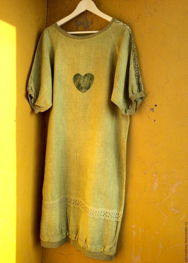 Купить Льняное салатовое платье в комплекте подушечка сердце и маска для сна - салатовый, лен, платье