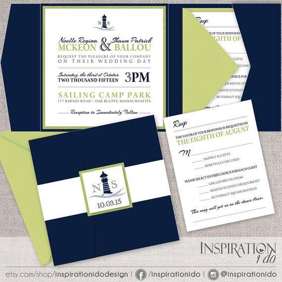 Nautical Wedding Invitations, Navy and Lime Green Wedding Invitations, Beach…