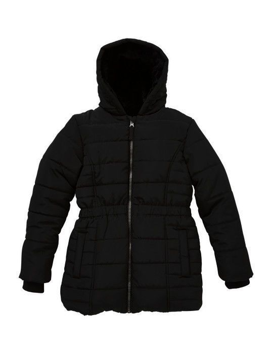 NWOT Marks & Spencer Black Soft Thermal Padded Stormwear Fur Hood Coat 7 - 8YRS  #MarksandSpencer #BasicCoat #DressyEverydayHoliday