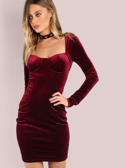 Vestido mini de terciopelo-Sheinside