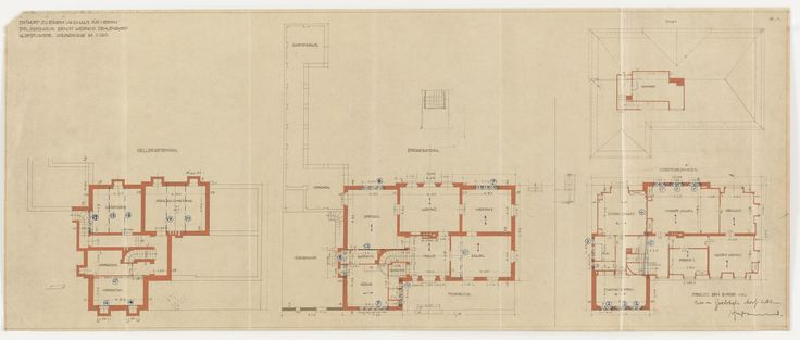 Ludwig Mies van der Rohe. Werner House, Berlin-Zehlendorf, Germany, Four plans. 1913