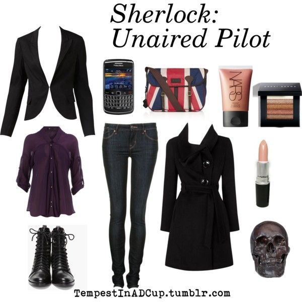 """""""Sherlock: Unaired Pilot"""" by rubylebeau on Polyvore -- Yes to the coat, shoes, satchel, and phone. ^_^"""