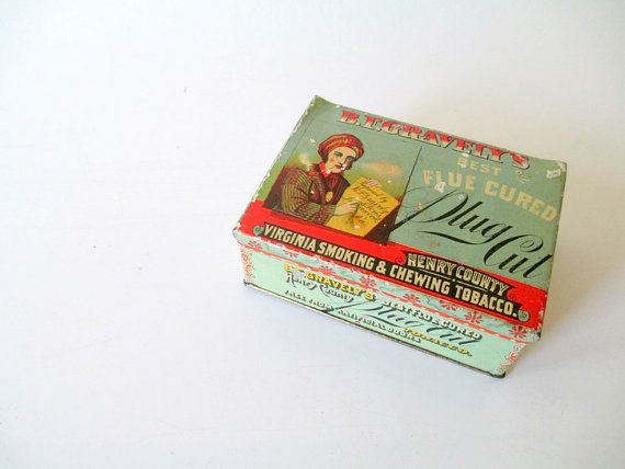 Rare Antique Tobacco Tin BF Gravelys Flue by AmyKristineVintage