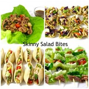 Think Outside the Salad Bowl with These 6 Skinny Salad Bites. All include Weight Watchers POINTS. http://www.skinnykitchen.com/recipes/think-outside-the-salad-bowl-with-these-skinny-salad-bites/