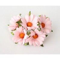 Ромашки св.розовые махровые 4 см, 5 шт