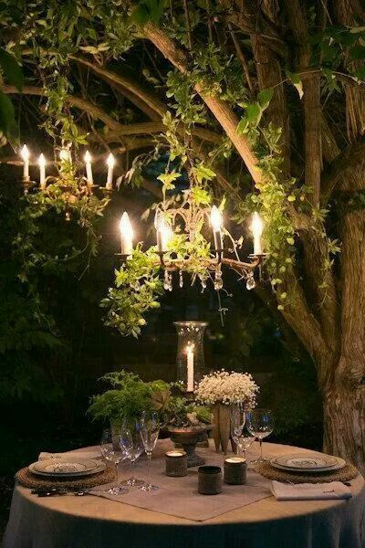 Dinner For Two.  Perfect except for the chandelier. Remove the electrical sockets and power cord, and replace the bulbs with candles to give off a romantic natural soft glow. Back To Basics.