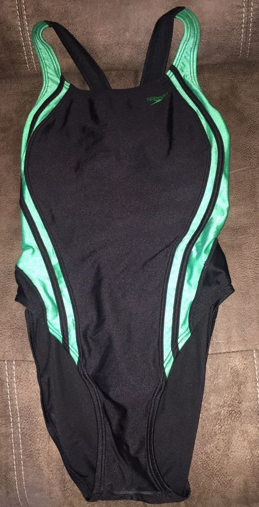 Womens Speedo One-Piece Bathing Suit Size 8/34 Black & Green #Speedo #OnePiece