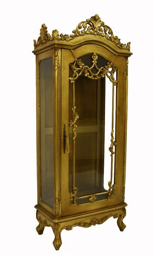 French designer furniture glass display cabinet gold for French couture houses