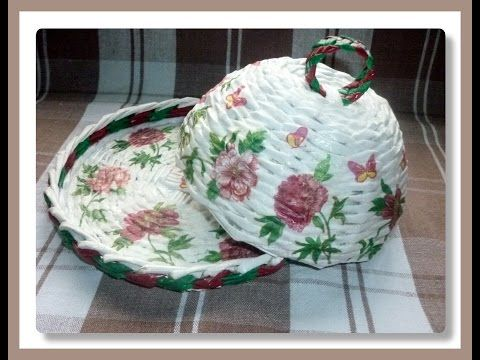 Декупаж салфеткой плетеных изделий / Decoupage napkin wickerwork - YouTube