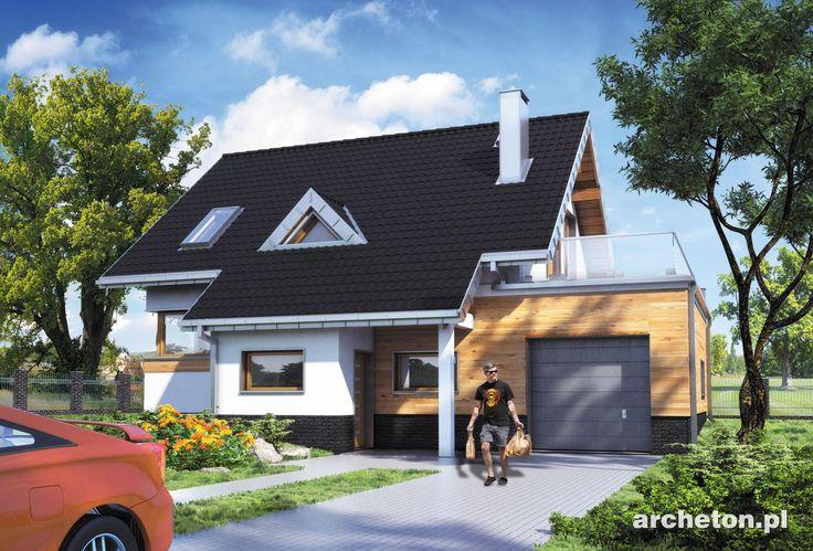 Projekt domu Amelia 100  cechuje bryła o zwartych proporcjach, z kalenicą dwuspadowego dachu równoległą do drogi dojazdowej i z wysuniętym ku frontowi przedsionkiem.