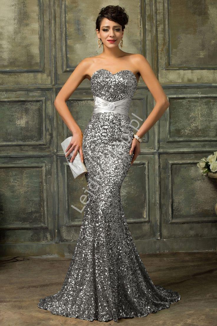 Cekinowa srebrna suknia wieczorowa | suknie karawałowe, estradowe