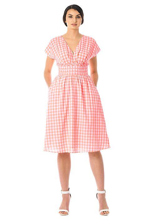 Gingham check cotton surplice dress #eShakti