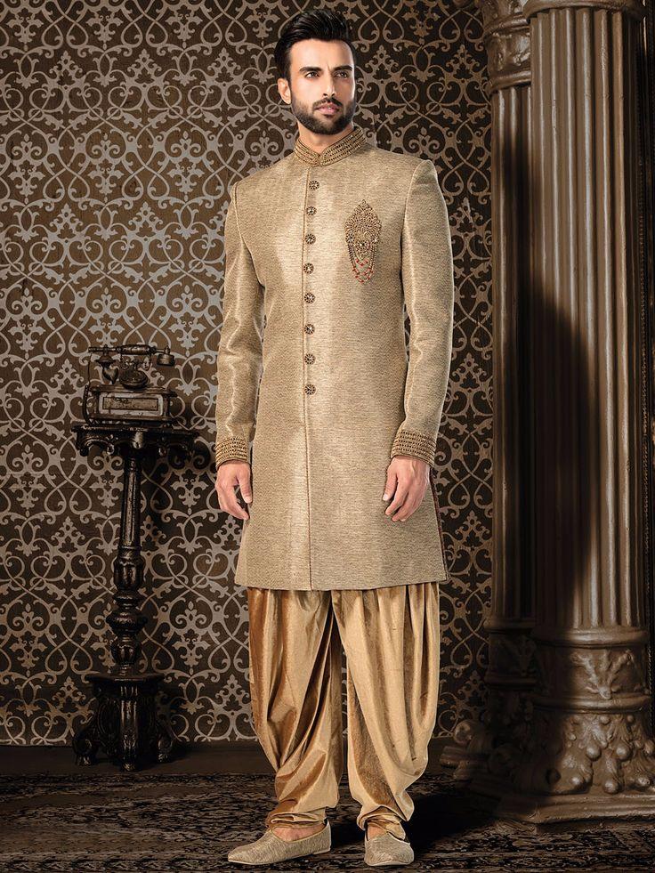 Beige Jute Silk Indo Western