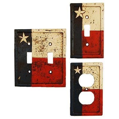 This Texas Flag switch plate cover has a weathered finish and an upraised Texas star. Display your Texas pride with these great looking switch plates and outlet covers in your home