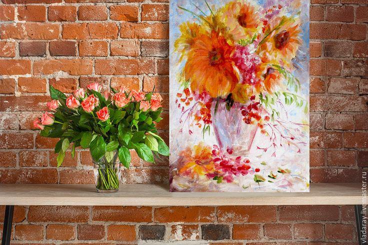 """Купить Картина """"Подсолнухи"""" бесплатная доставка - Картина подсолнухи, красные подсолнухи, картина в подарок"""
