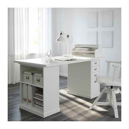 Klimpen table leg with storage white ikea this would be a good desk for storage and a few - Table bureau ikea ...