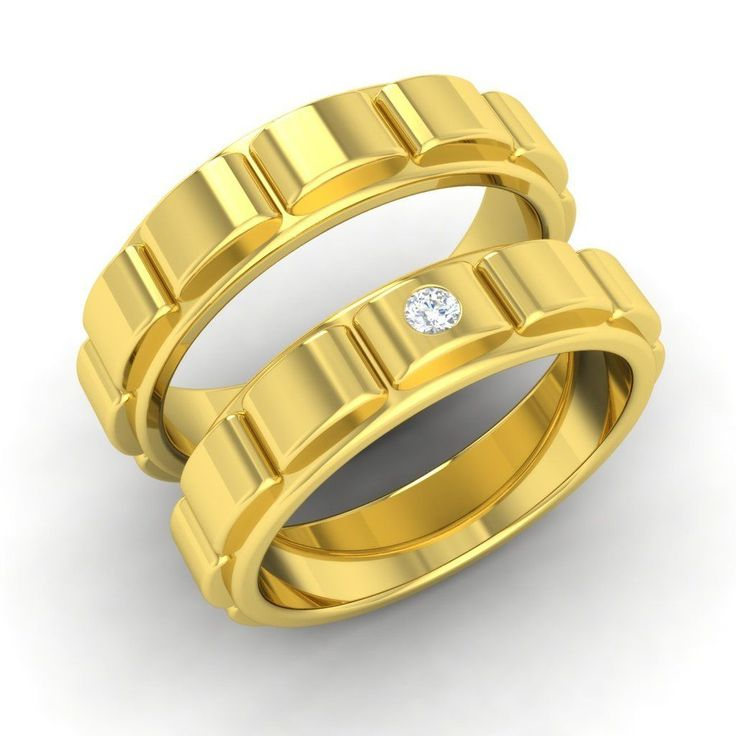 Certified SI/GH Diamond Wedding Couple Band In Solid 14k Yellow Gold-0.04 Cttw   eBay