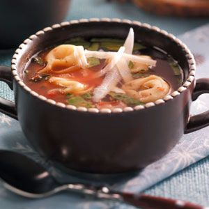 Holiday Tortellini Soup Recipe from Taste of Home -- shared by Michelle Goggins of Cedarburg, Wisconsin
