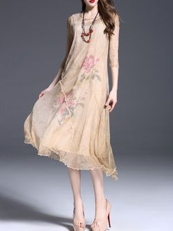 Asymmetric Floral Print Silk #Midi #Dress