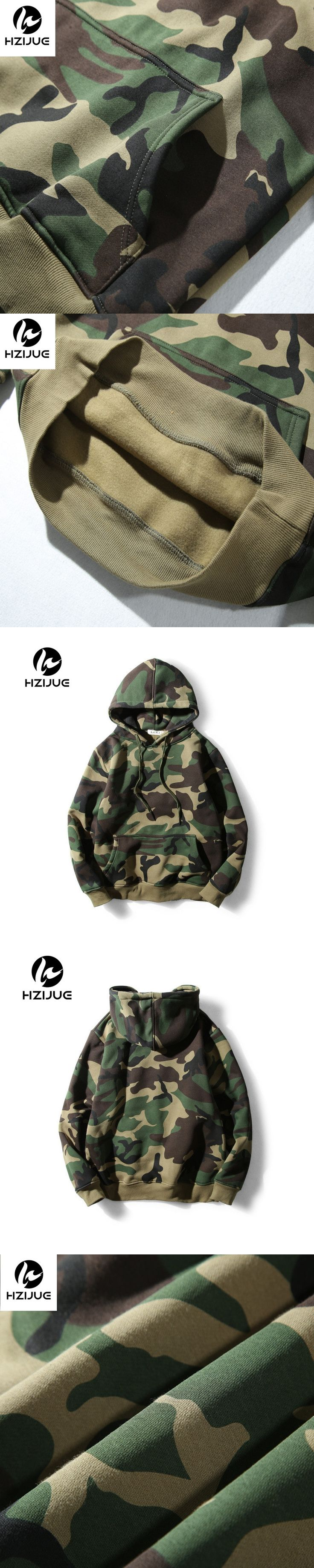 HZIJUE Army Green Camouflage Hoodies 2017 Winter Mens Camo Fleece Pullover Hooded Sweatshirts Hip Hop Swag Cotton Streetwear