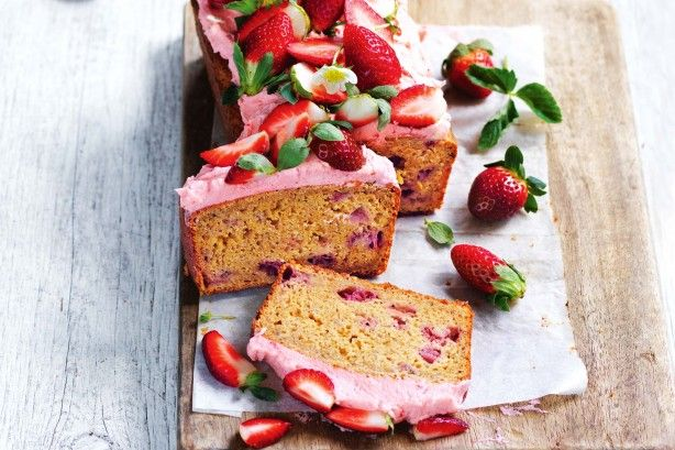 Add fresh stawberries into the mix for an extra special twist to the classic banana bread recipe.