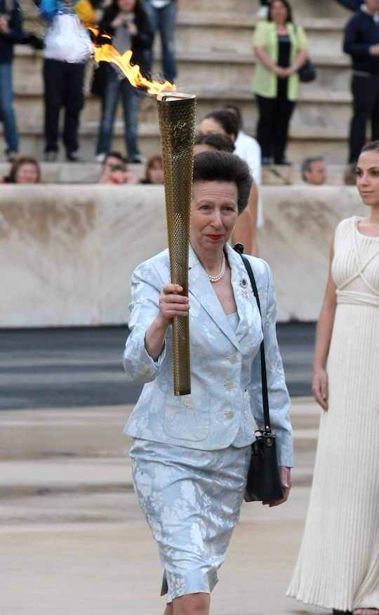 Princess Anne with Olympic flame torch May 17 in Athens, Greece