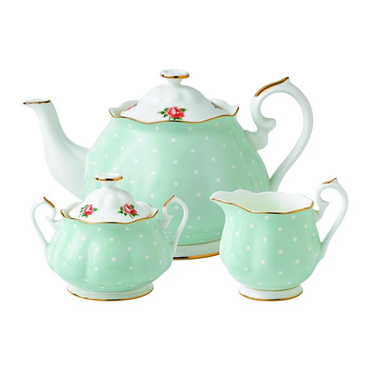 Royal Albert - Polka Rose 3 Piece Set- Teapot, Covered Sugar and Creamer