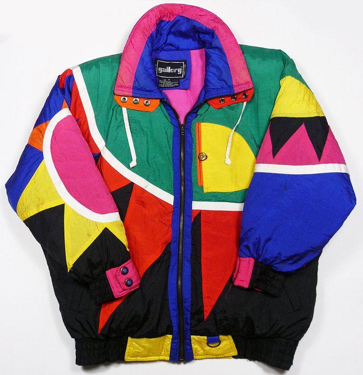 Vintage 80 39 s gallery down color block aztec hip hop ski for 90er outfit damen